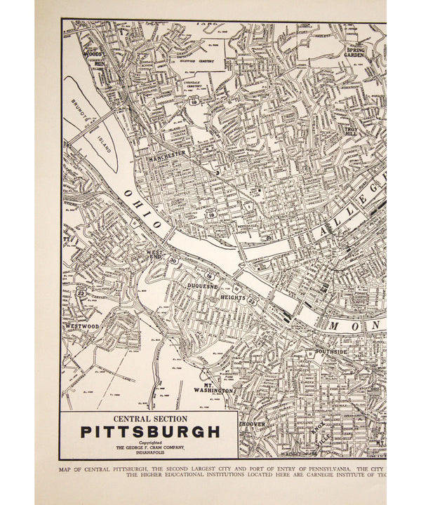 Vintage Framed City Map, Pittsburgh