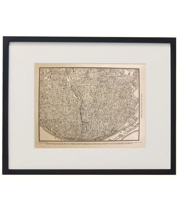 Vintage Framed City Map, St. Louis