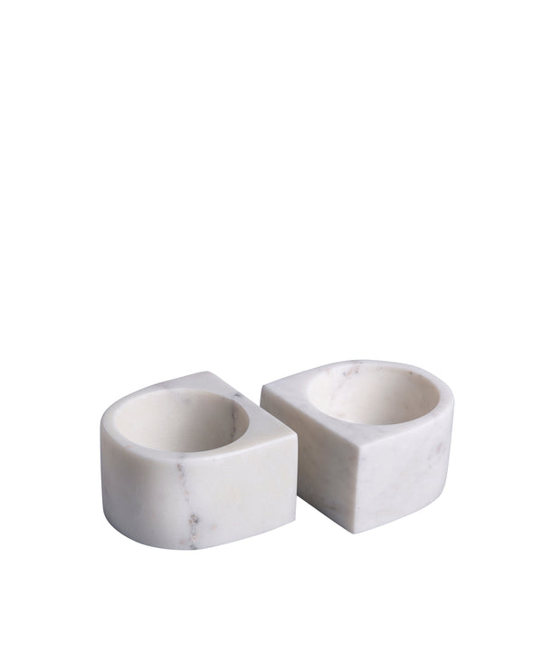 White Marble Pinch Pots, Set of 2