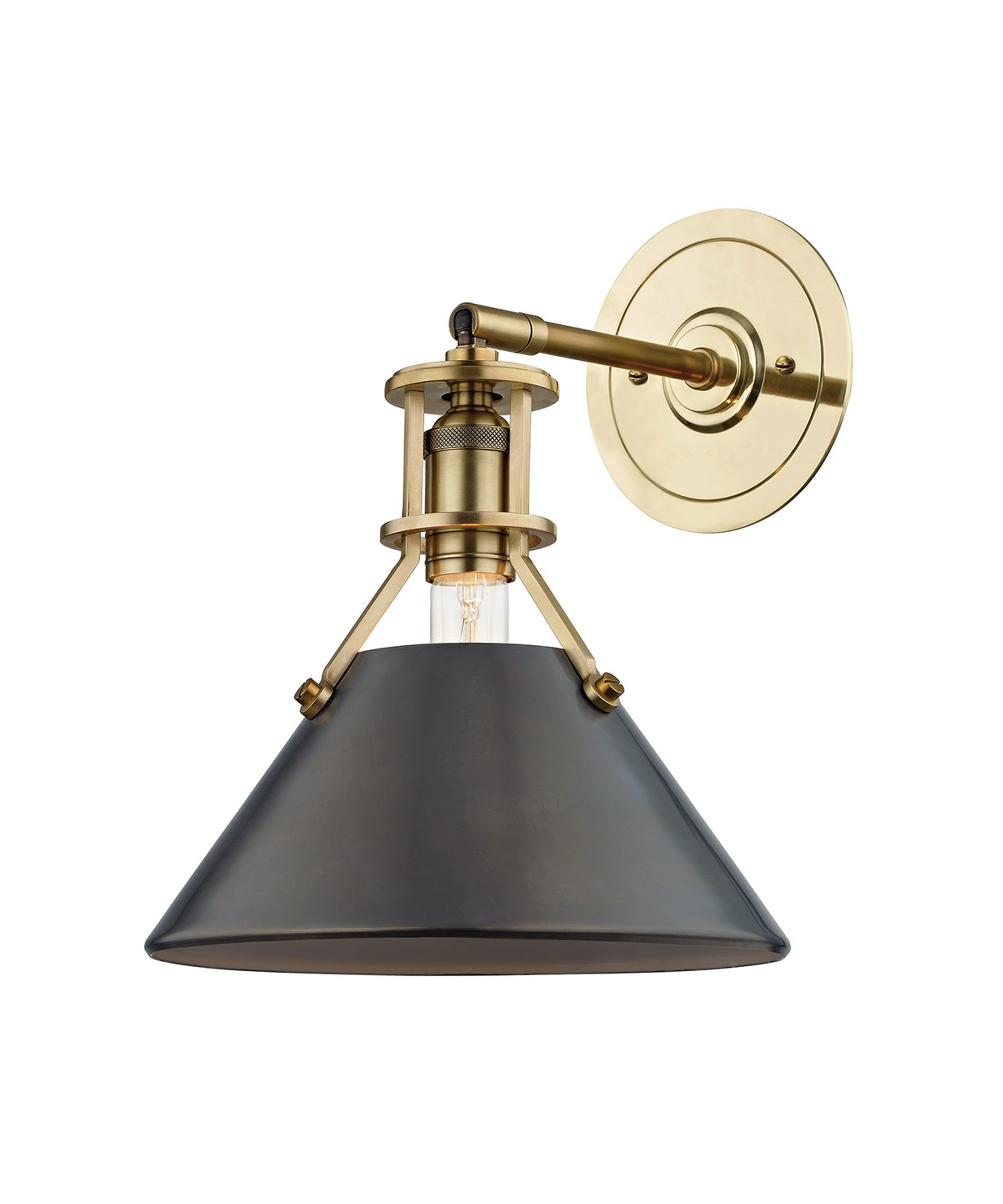Metal No. 2 Wall Sconce, Aged Brass with Bronze Shade