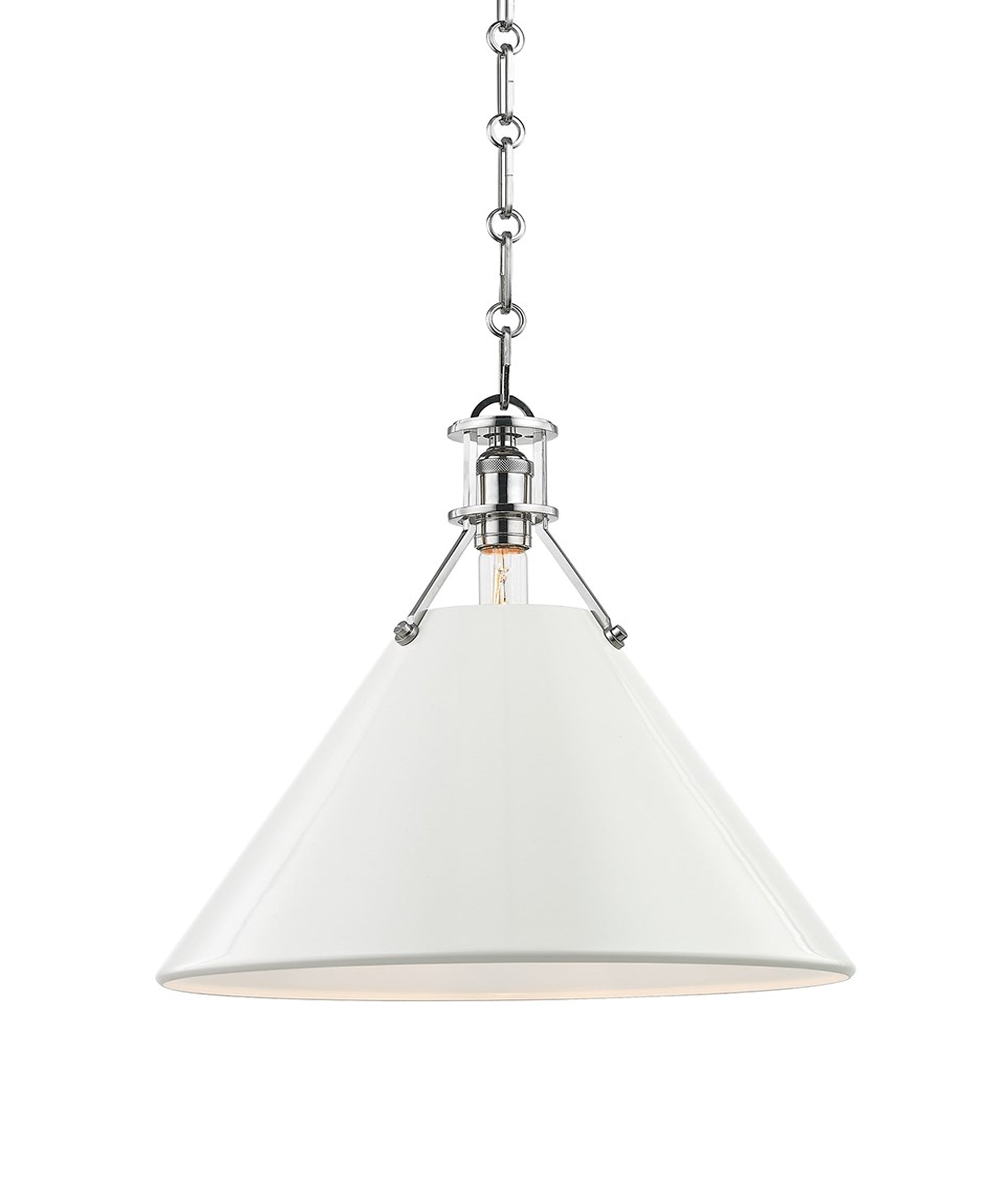 Large Painted No. 2 Pendant, Polished Nickel with White Shade