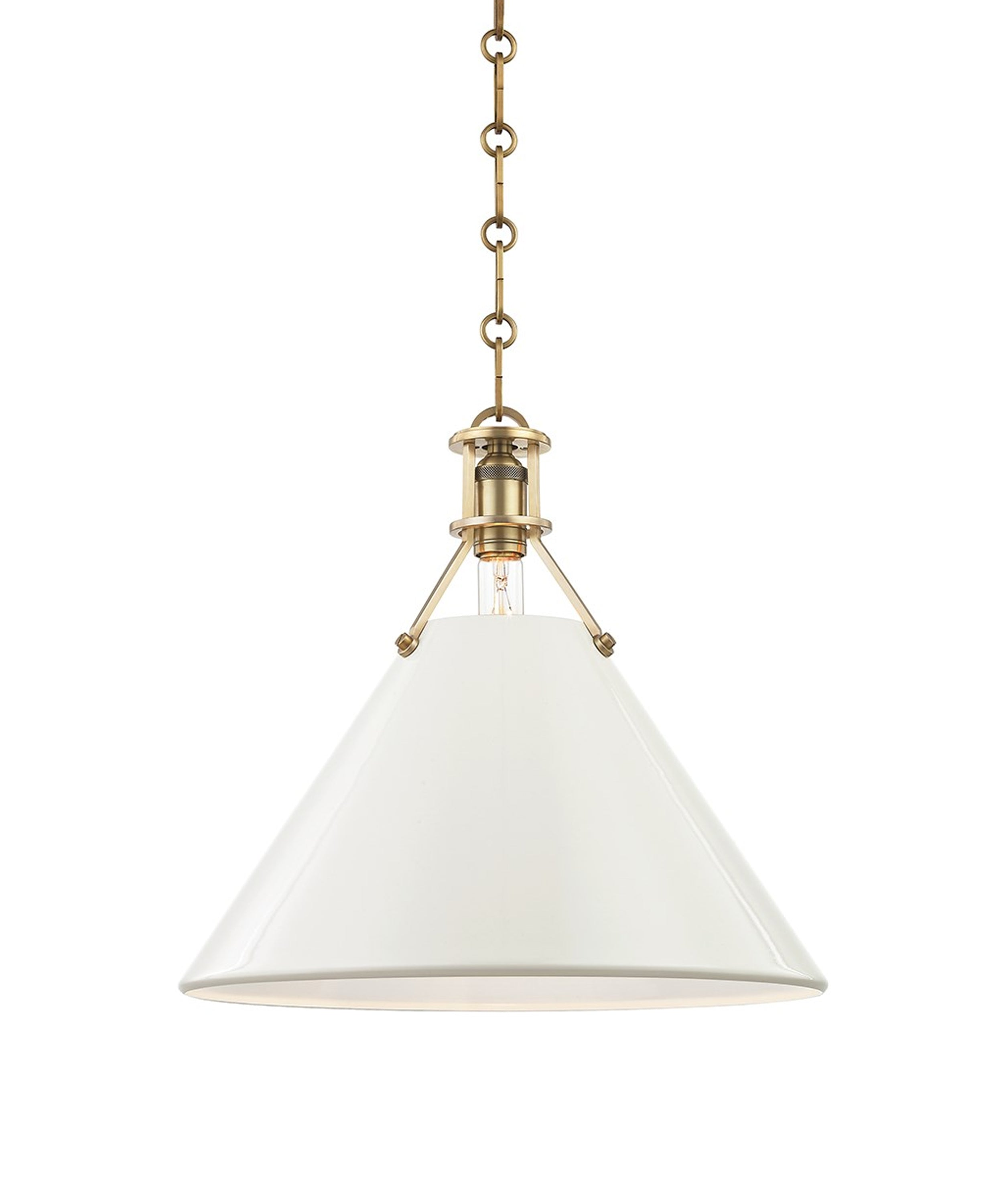 Large Painted No. 2 Pendant, Aged Brass with White Shade
