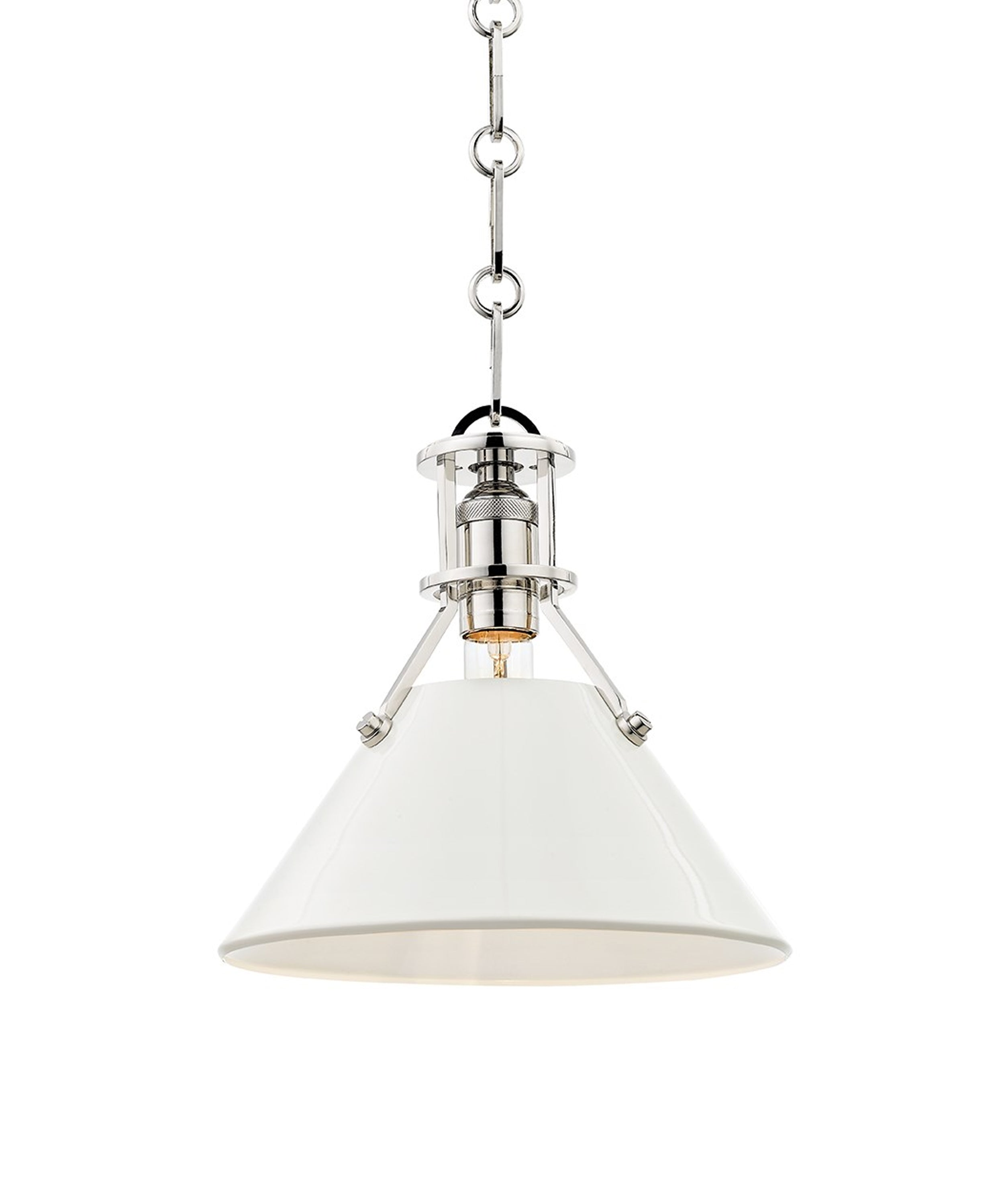 Small Painted No. 2 Pendant, Polished Nickel with White Shade