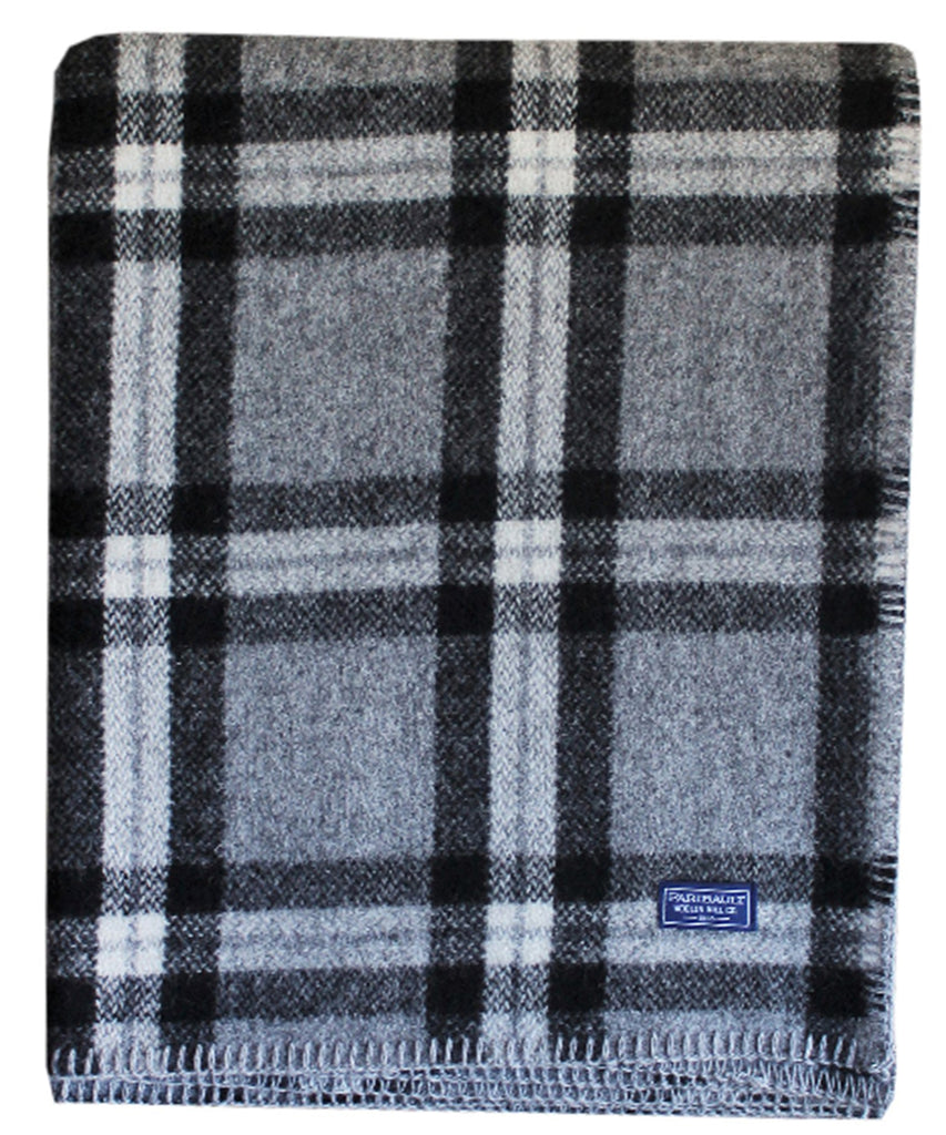 Minnehaha Falls Plaid Wool Throw Blanket in Black, Faribault Woolen Mill Co.