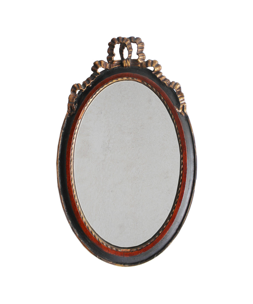 Antique Oval Mirror with Bow Frame