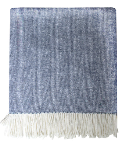 Italian Herringbone Throw Blanket, Navy