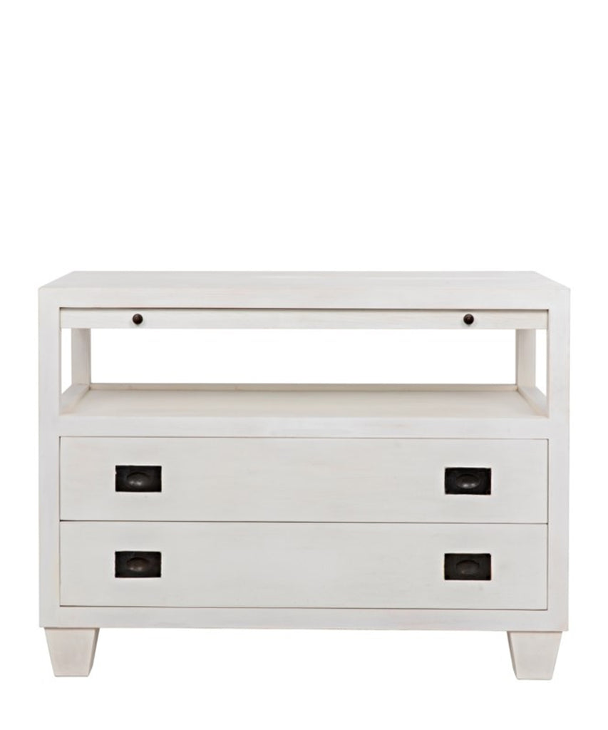 Meredith 2 Drawer Side Table with Sliding Tray, White Wash