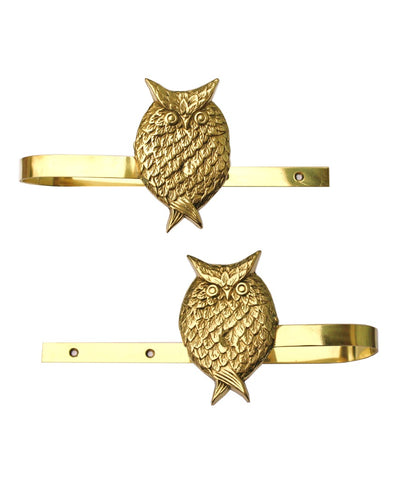 Brass Owl Curtain Tie Backs