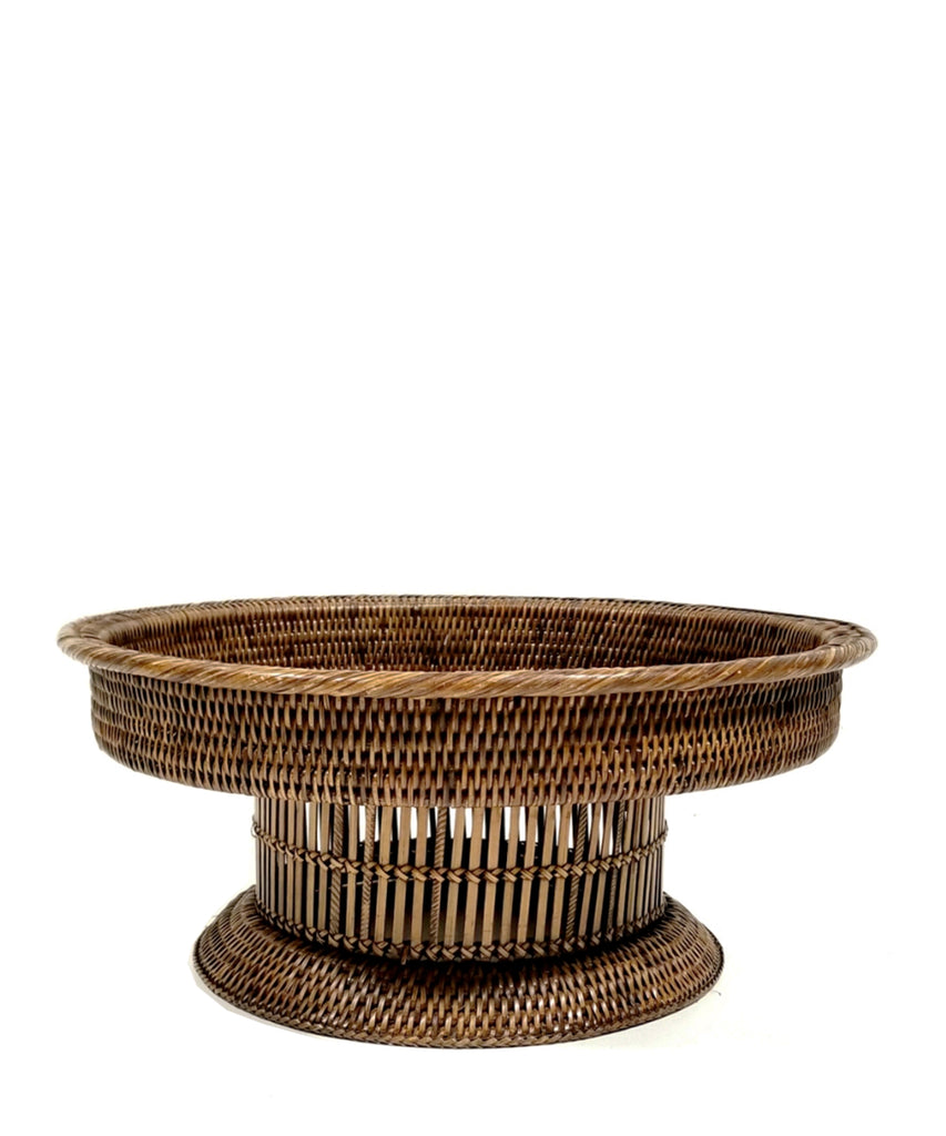 Round Woven Rattan Footed Tray, Antique Brown