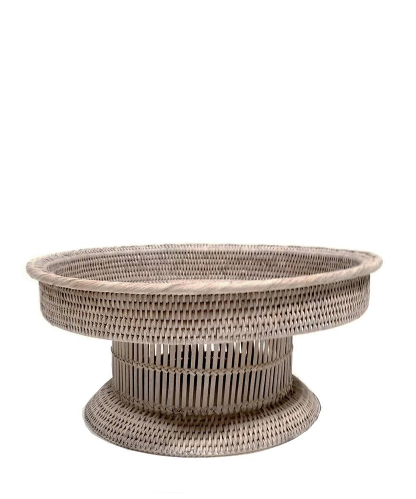 Round Woven Rattan Footed Tray, White Wash