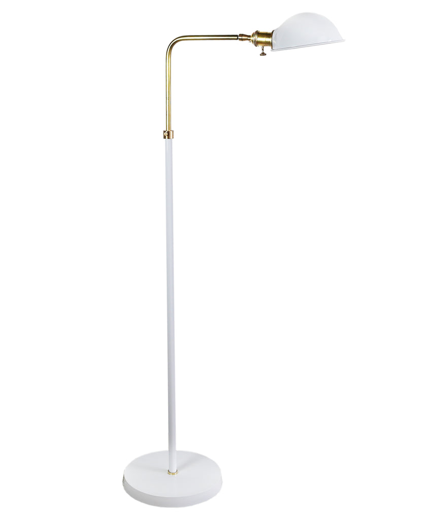 Pharmacy Adjustable Floor Lamp, White & Antique Brass
