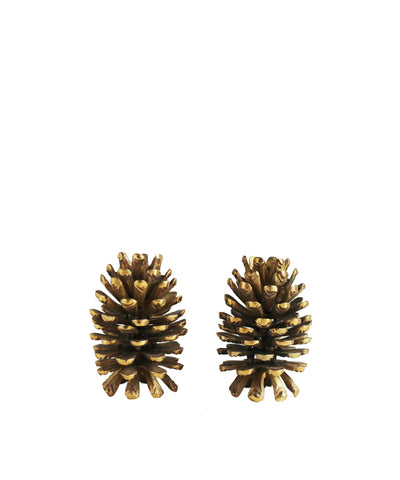 Vintage Brass Pine Cone Candle Stick Holders