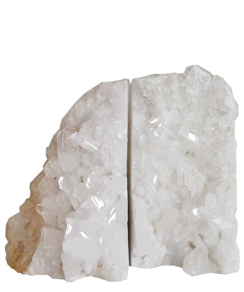 Large Natural White Crystal Quartz Bookends