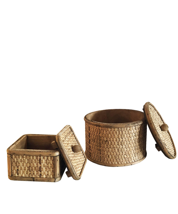 Basketweave Rattan Box
