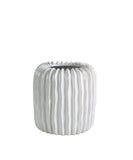 Ridge Ceramic Vase, White