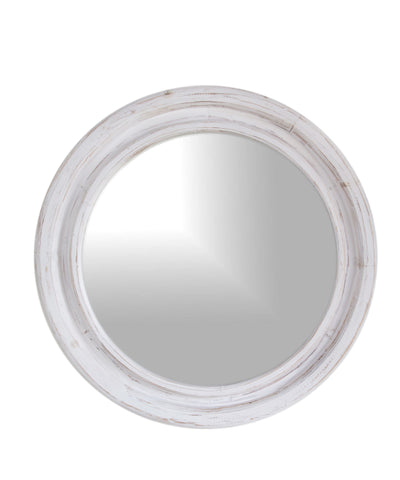 Round White Wash Mirror