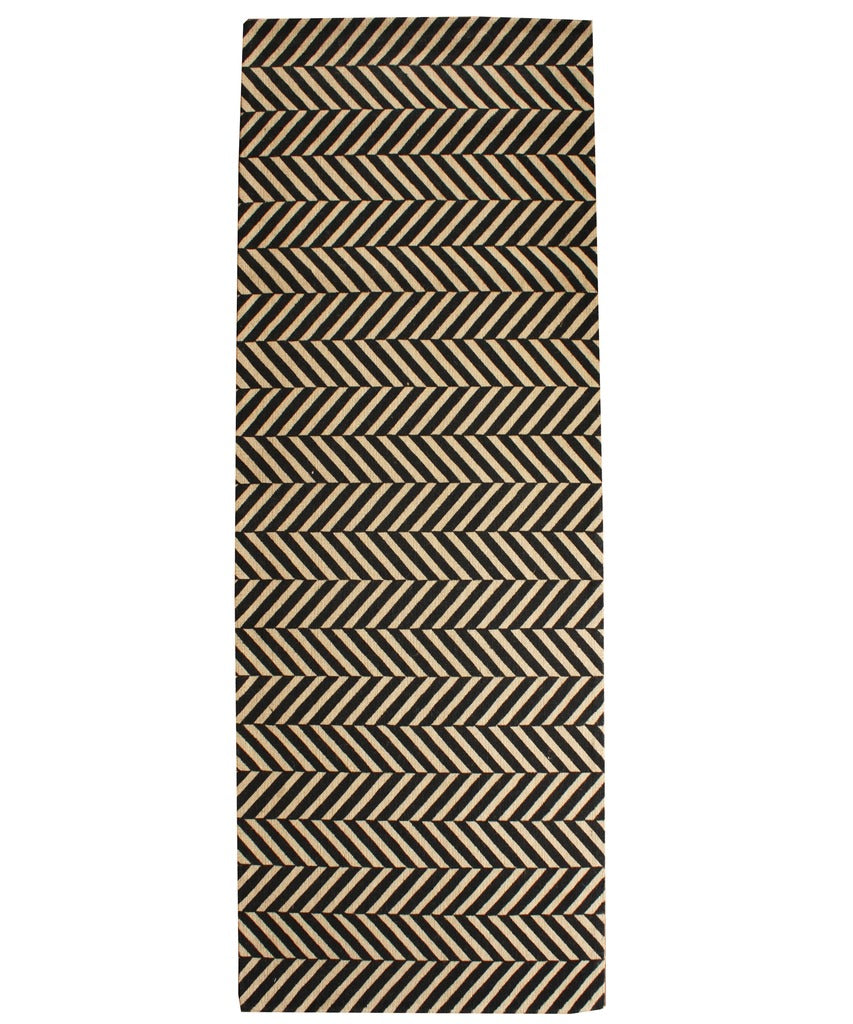 Herringbone Sisal Runner, Black  2.5