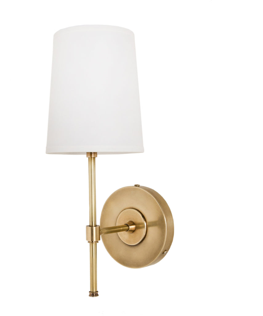 Adams Wall Sconce With Linen Shade Antique Brass High