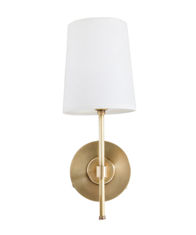 Adams Wall Sconce with Linen Shade, Antique Brass