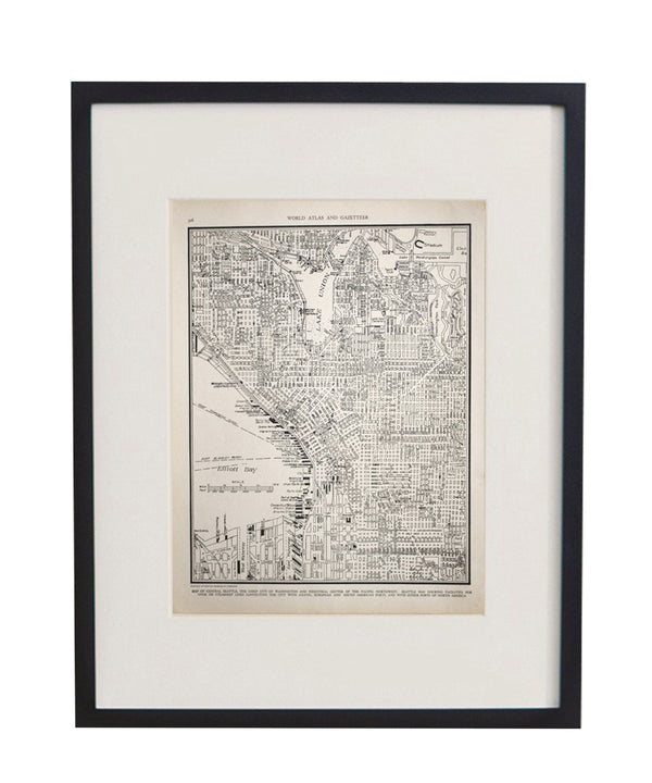 Vintage Framed City Map, Seattle