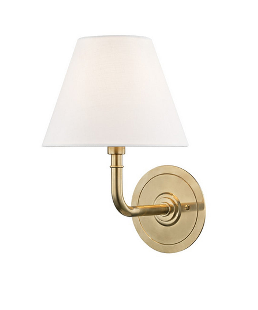Signature No. 1 Single Light Wall Sconce, Aged Brass