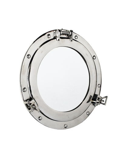 Porthole Mirror, Polished Nickel, 15""