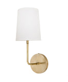 Fillmore Wall Sconce with Linen Shade, Antique Brass