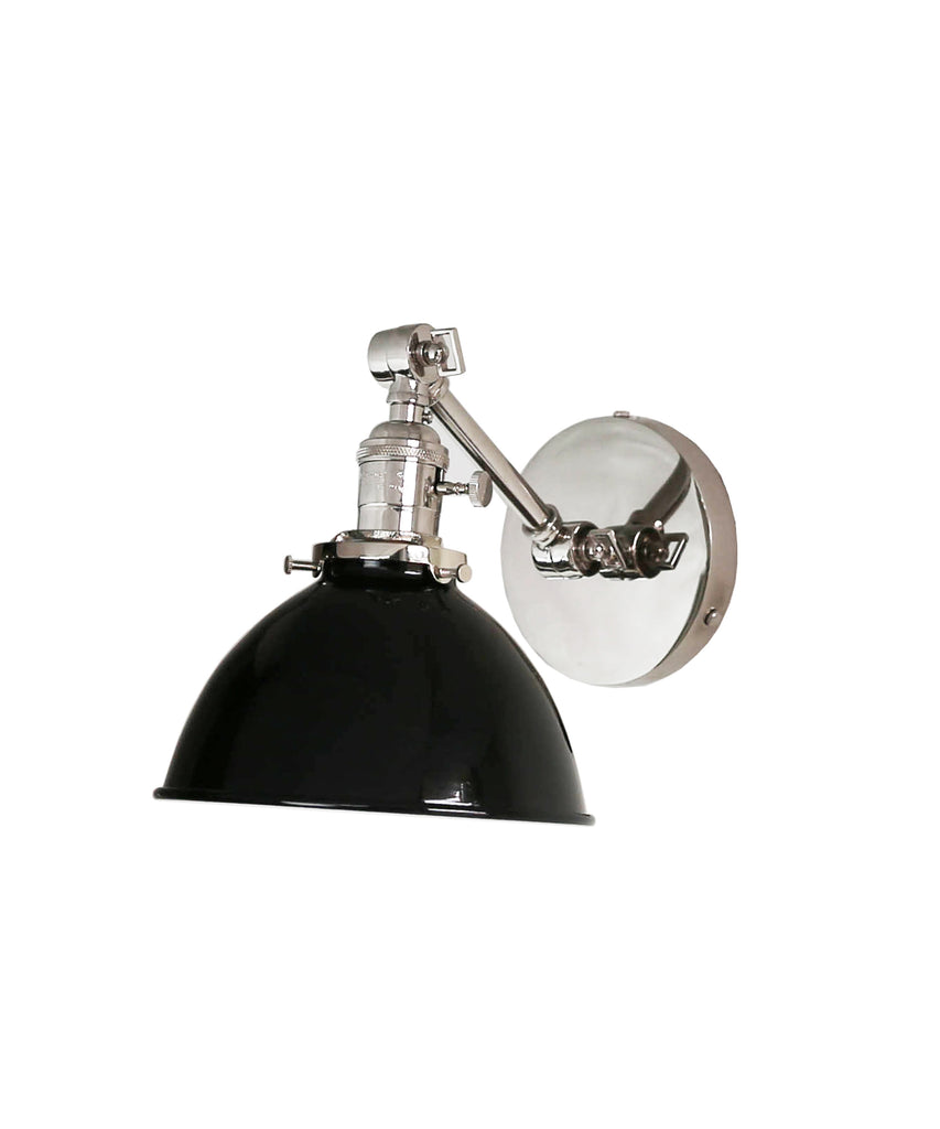 Jefferson Single Short Arm Wall Sconce with Black Enamel Shade, Polished Nickel