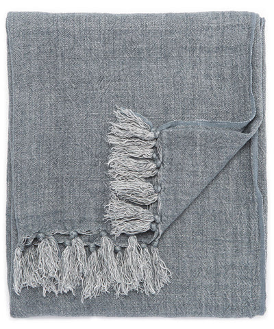 Linen Weave Throw Blanket, Slate Blue