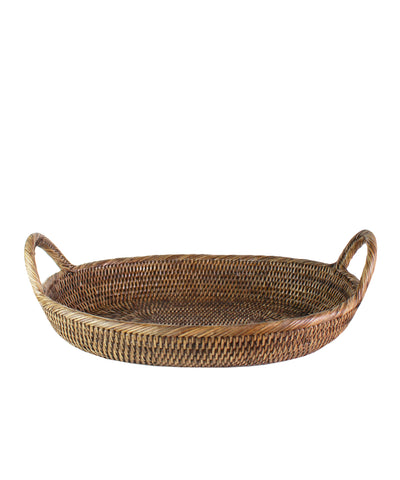 Oval Rattan Tray, Antique Brown
