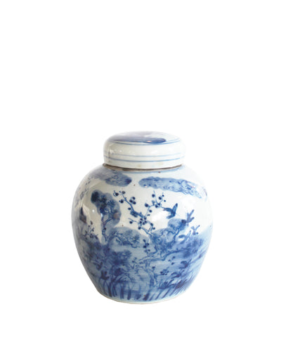 "Blue & White Floral Ginger Jar, 6.5"" Small"