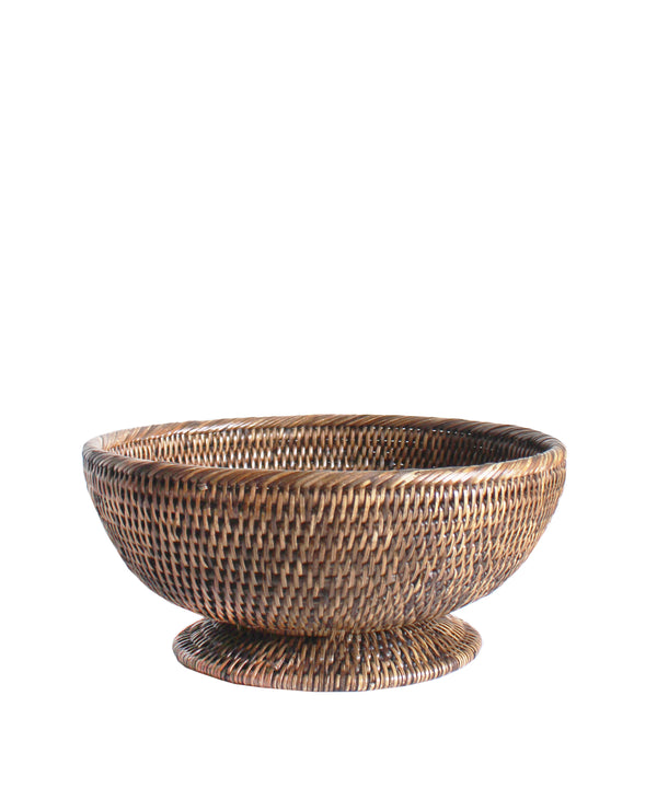 Small Round Pedestal Fruit Bowl, Brown