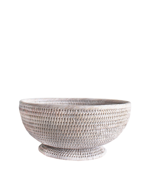 Small Round Pedestal Fruit Bowl, White Wash