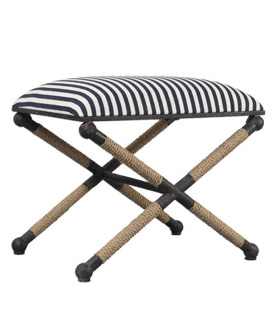 Navy Striped Ottoman