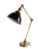 Jefferson Double Arm Table Lamp with Black Enamel Shade, Antique Brass