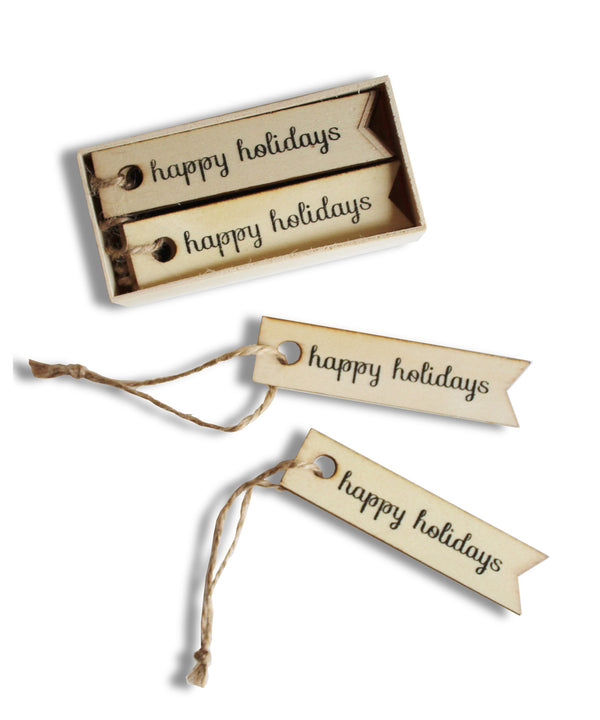 """Happy Holidays"" Wooden Gift Tags, Box Set of 12 - High Street Market"
