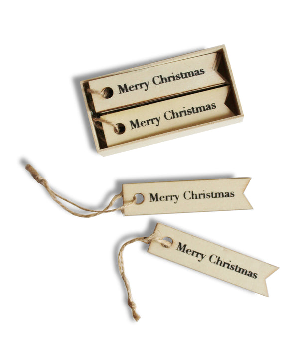 """Merry Christmas"" Wooden Gift Tags, Box Set of 12 - High Street Market"