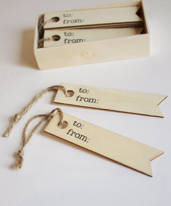 """To & From"" Wooden Gift Tags, Box Set of 12 - High Street Market"