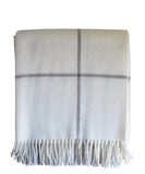 Italian Cashmere Throw Blanket, Winter White Windowpane