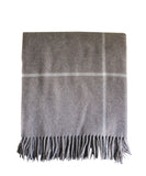 Italian Cashmere Throw Blanket, Taupe Windowpane