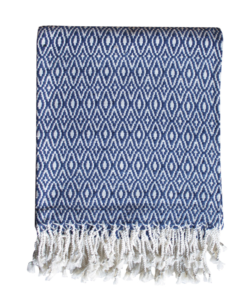 Diamond Weave Throw Blanket, Navy & White