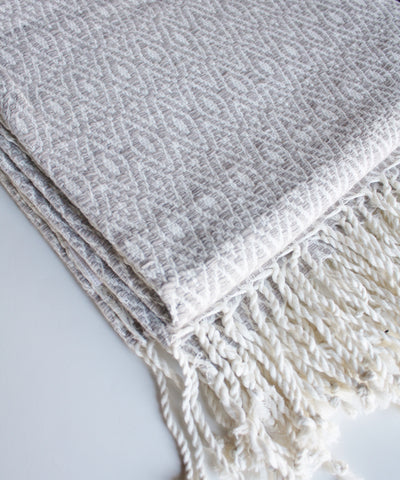 Diamond Weave Throw Blanket, Tan & White