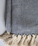 Herringbone Weave Throw Blanket, Indigo