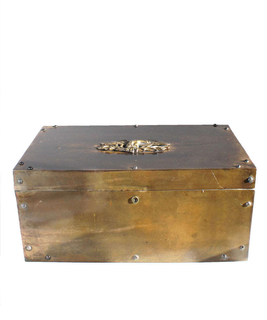 Large Brass Box with Eagle, Trench Art
