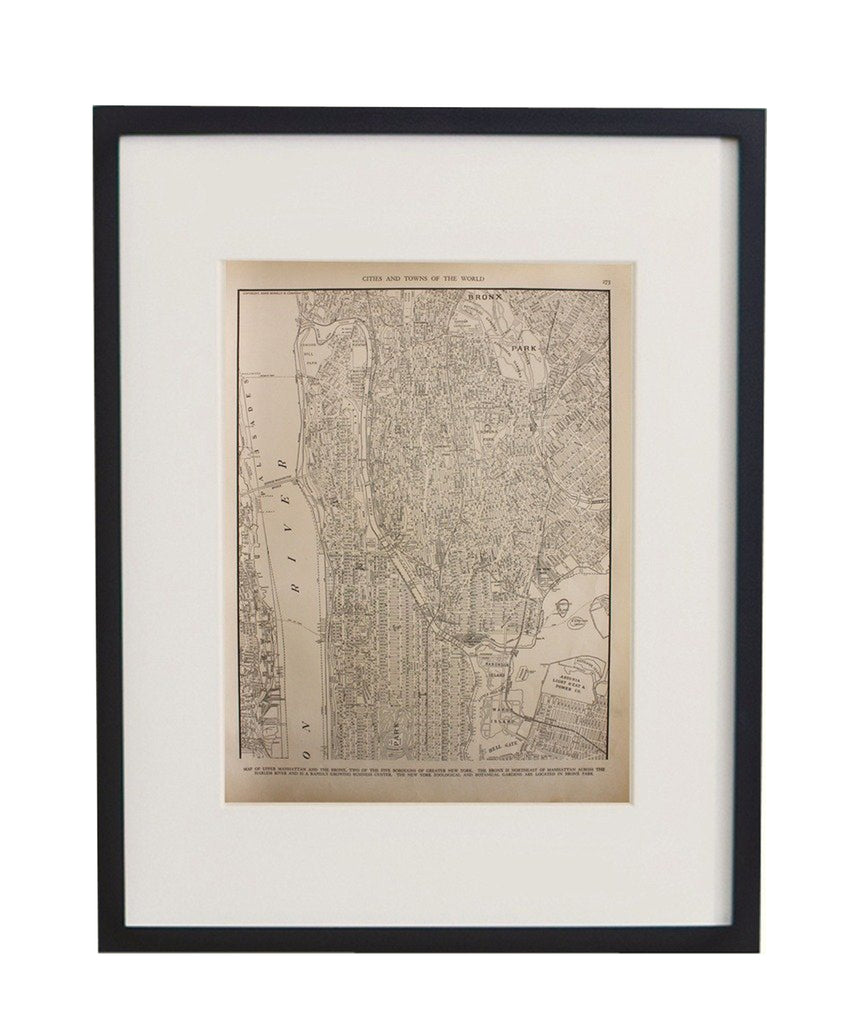 Vintage Framed City Map, Upper Manhattan