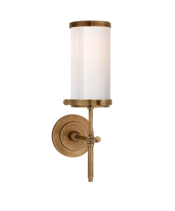 Bryant Bath Sconce, Antique Brass with White Glass Shade