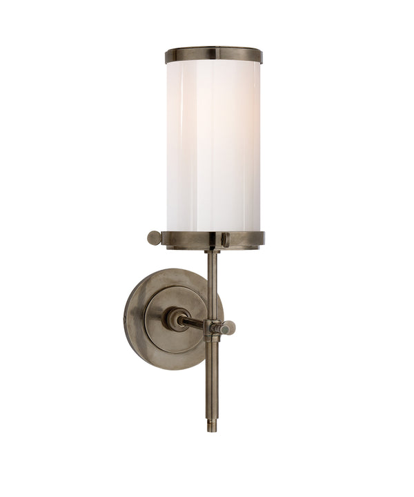 Bryant Bath Sconce, Antique Nickel with White Glass Shade