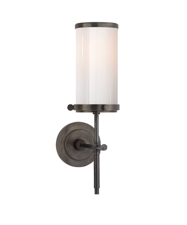 Bryant Bath Sconce, Bronze with White Glass Shade