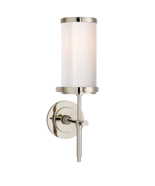 Bryant Bath Sconce, Polished Nickel with White Glass Shade