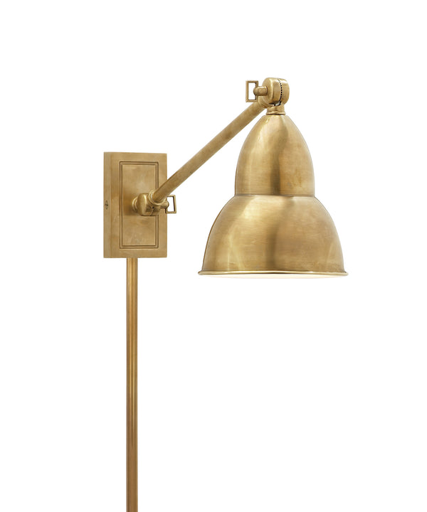 French Library Single Arm Wall Sconce, Antique Brass